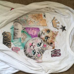 Selfie Queen shirt with cats